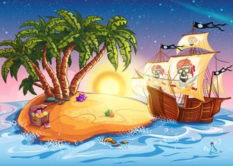 Illustration of treasure island and pirate ship