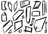 Doodle, Set hand drawn shapes, square, trapezoid poster