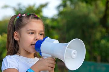 Pretty girl with megaphone