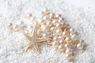 starfish with pearls in the sand