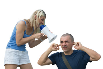 wife screams into a megaphone to husband
