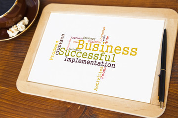blackboard with successful business word cloud