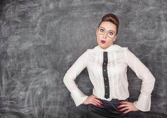 Surprised teacher