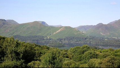 View from Keswick to Derwent Water and Catbells mountains
