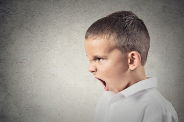 Side view profile portrait Angry boy screaming, grey background