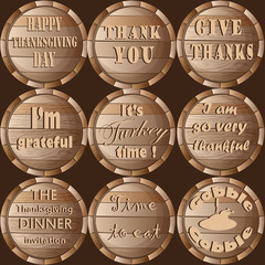 Thanksgiving Frame Barrel Stickers Set Pattern