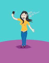 Woman takes a Selfie Shot. Vector Illustration and Raster.