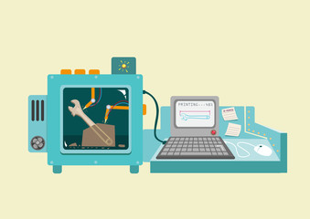 Flat illustration of 3D printing concept. Vector and raster