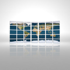 Monitor wall with earth map