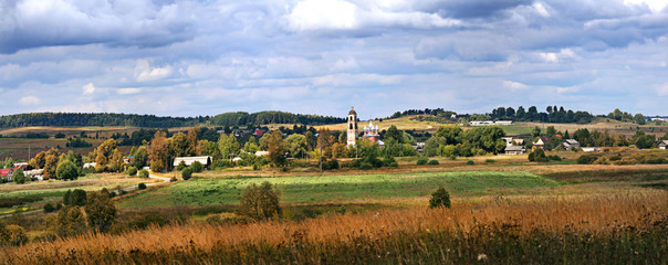 panoramic view of the autumn woods and fields