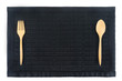 Leinwandbild Motiv thai little mat black color with set of fork and spoon