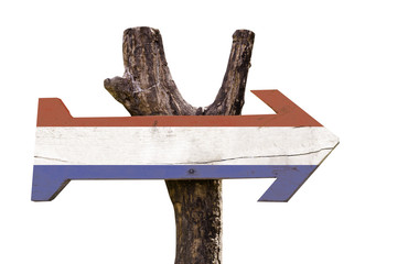 Netherlands wooden sign isolated on white background