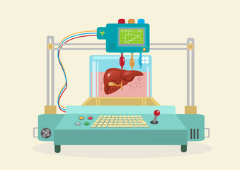 3D Bioprinter replicates a Human Organ. EPS10 flat vector.