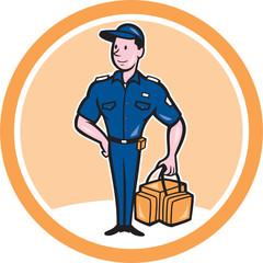 Paramedic Holding Bag Circle Cartoon
