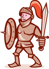 Knight Shield Sword Cartoon