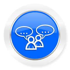 forum blue glossy web icon