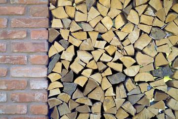 firewood and brick wall