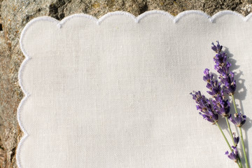 White napkin with lavender flowers