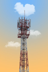 Telecom tower and blue sky.