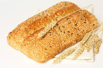 Bread with linen seeds and sesame.