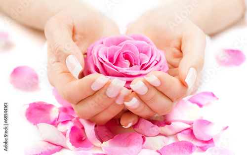canvas print picture Manicure and hands spa. Beautiful woman hands closeup