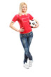 Full length portrait of a female football fan holding a ball