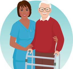 Nurse helps elderly patient