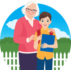 Elderly woman with her grandson schoolboy