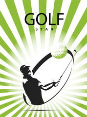 Green golf icons silhouette