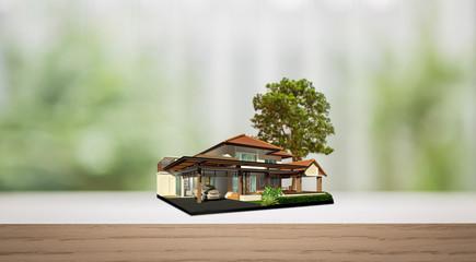 House on wood shelf with tree