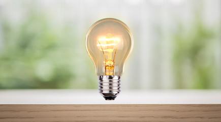 Bulb on wood shelf