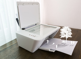 Printer with children play on paper