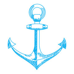Anchor icon. Nautical vector isolated white, blue