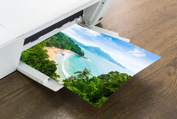 Printer with paper of Tropical island