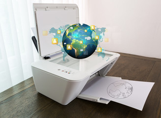 Printer with earth of social network on paper (Elements of this