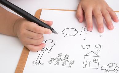 Preschool age child writing love family