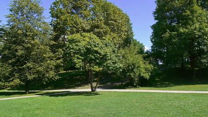 sunny corner of a park in oslo