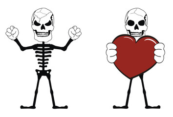 skull heart funny cartoon set