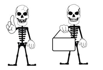 skull funny cartoon set
