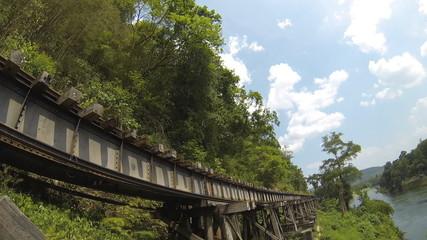 Burma Railway, Kanchanaburi, Thailand. Time Lapse. HD