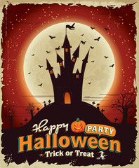 Vintage Halloween poster set design with castle