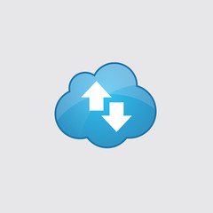 Blue cloud up and down arrow icon