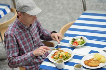 Man having a lunch