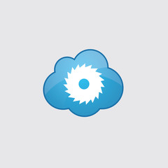 Blue cloud industrial saw icon.