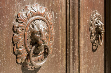 knocker in wood and bronze
