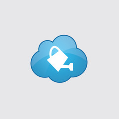 Blue cloud watering can icon.