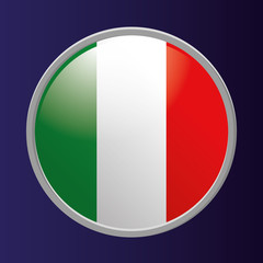 Button Of Italy's Flag Isolated On Background