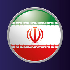 Button Of Iran's Flag Isolated On Background