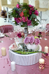 Still life wedding. Table setting at a wedding reception. Decor