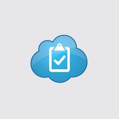 Blue cloud vote icon.